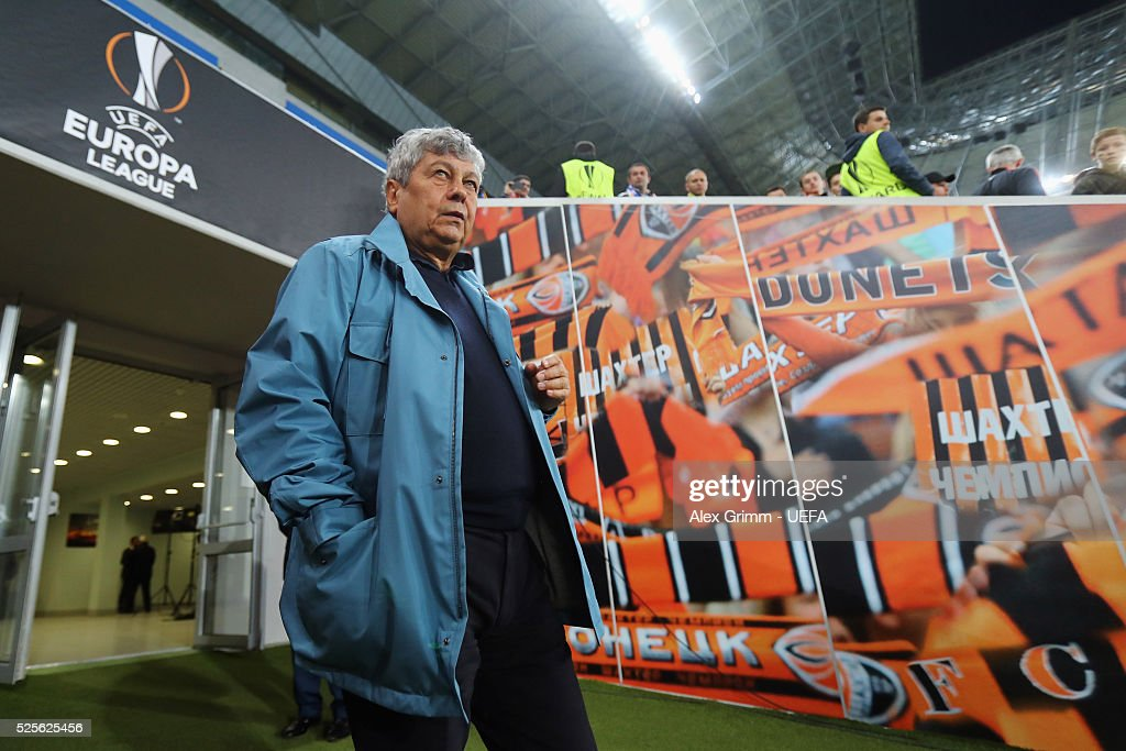 Head coach Mircea Lucescu of Shakhtar walks out of the tunnel prior to the UEFA Europa League Semi Final first leg match between Shakhtar Donetsk and Sevilla at Arena Lviv on April 28, 2016 in Lviv, Ukraine.