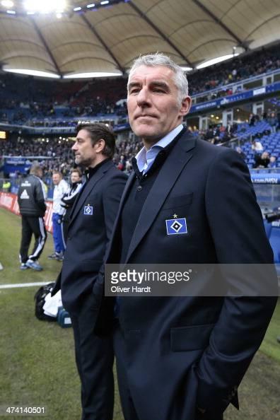 Head coach Mirko Slomka of Hamburg looks on prior to the Bundesliga match between Hamburger SV and Borussia Dortmund at Imtech Arena on February 22...