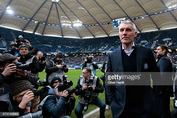 Head coach Mirko Slomka of Hamburg looks on prior to the Bundesliga match between Hamburger SV and Borussia Dortmund at Imtech Arena on February 22...