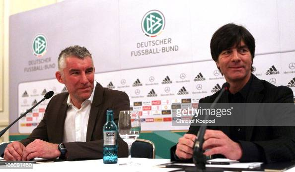 Head coach Mirko Slomka of Hannover and national coach Joachim Loew of Germany attend the press conference during the German Football convention at...