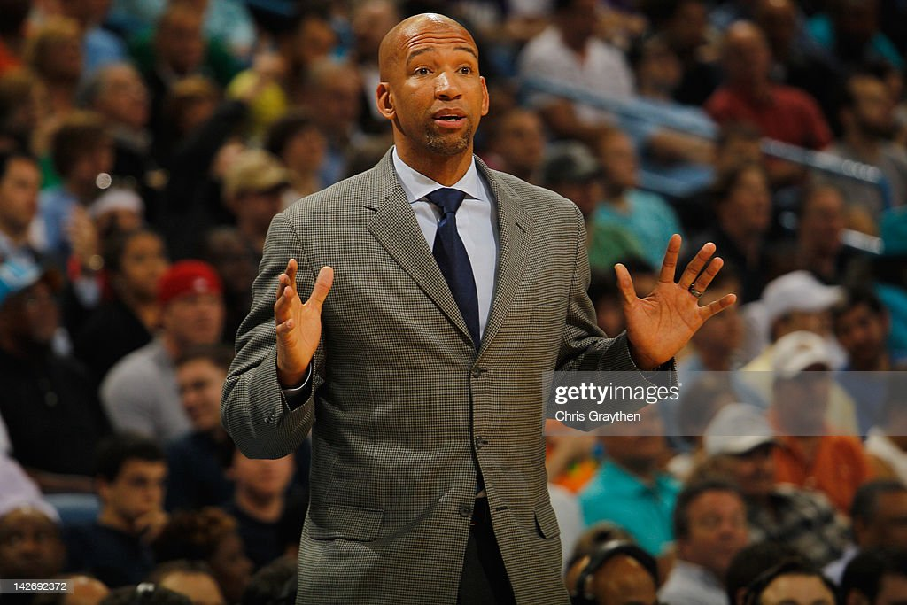 Head coach Monty Williams of the New Orleans Hornets against the Los Angeles Lakers at the New Orleans Arena on March 14 2012 in New Orleans...