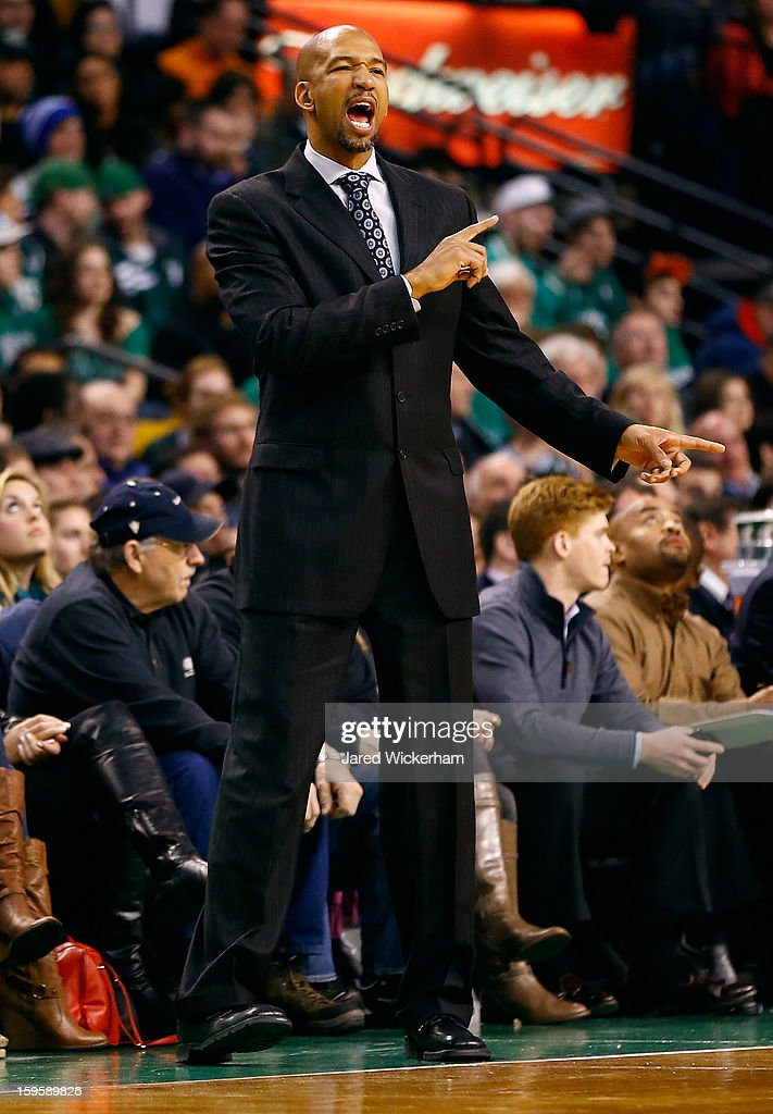 Head coach Monty Williams of the New Orleans Hornets calls out to his team against the Boston Celtics during the game on January 16, 2013 at TD Garden in Boston, Massachusetts.