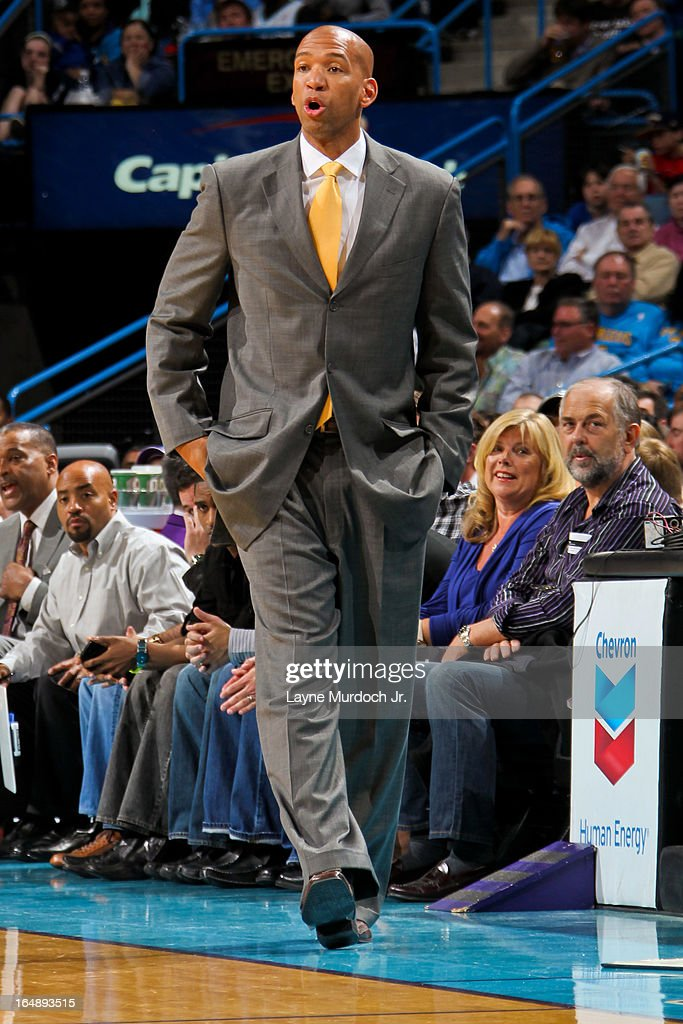 Head Coach <a gi-track='captionPersonalityLinkClicked' href=/galleries/search?phrase=Monty+Williams&family=editorial&specificpeople=220489 ng-click='$event.stopPropagation()'>Monty Williams</a> of the New Orleans Hornets directs his team against the Los Angeles Clippers on March 27, 2013 at the New Orleans Arena in New Orleans, Louisiana.