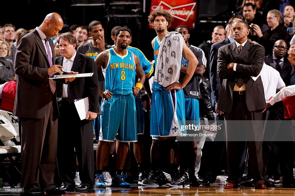 Head Coach <a gi-track='captionPersonalityLinkClicked' href=/galleries/search?phrase=Monty+Williams&family=editorial&specificpeople=220489 ng-click='$event.stopPropagation()'>Monty Williams</a> of the New Orleans Hornets draws up plays for his team after losing the lead to the Portland Trail Blazers with less than a second to play on December 16, 2012 at the Rose Garden Arena in Portland, Oregon.