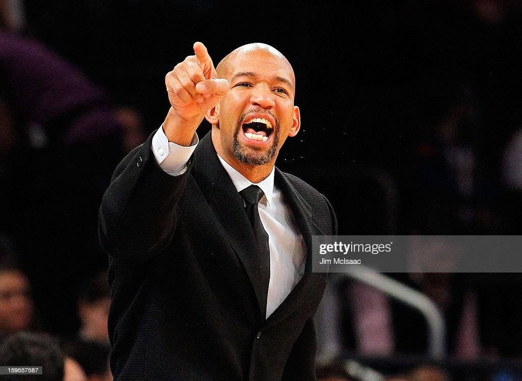 Head coach <a gi-track='captionPersonalityLinkClicked' href=/galleries/search?phrase=Monty+Williams&family=editorial&specificpeople=220489 ng-click='$event.stopPropagation()'>Monty Williams</a> of the New Orleans Hornets in action against the New York Knicks at Madison Square Garden on January 13, 2013 in New York City. The Knicks defeated the Hornets 100-87.