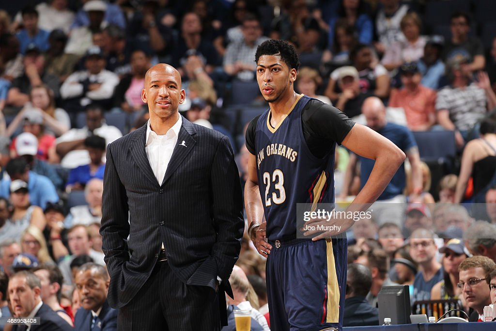 Head coach Monty Williams of the New Orleans Pelicans and Anthony Davis during the game against the Memphis Grizzlies on April 8 2015 at FedExForum...