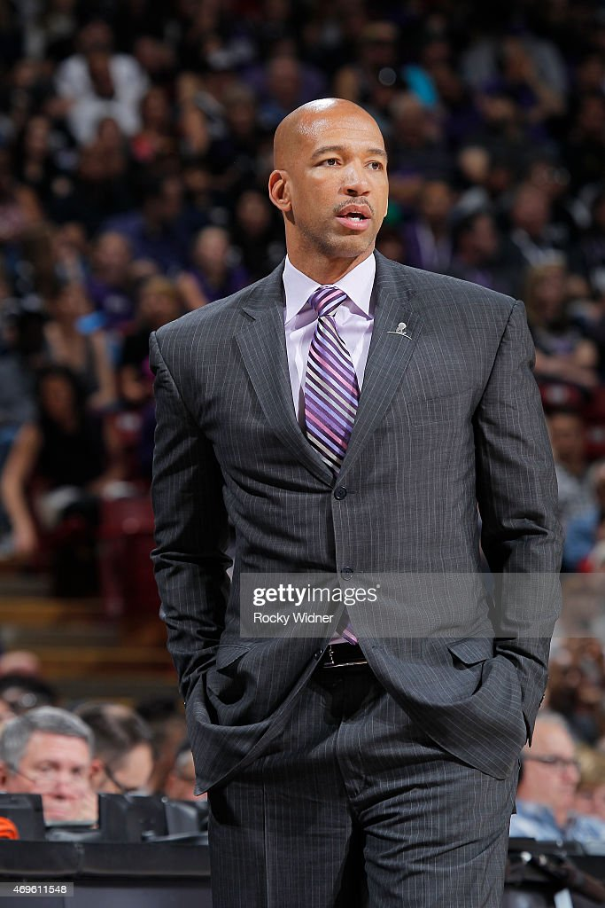 Head Coach Monty Williams of the New Orleans Pelicans coaches against the Sacramento Kings on April 3 2015 at Sleep Train Arena in Sacramento...