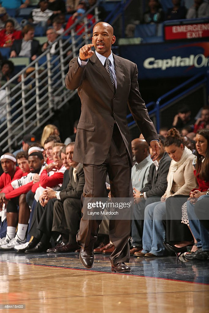Head coach Monty Williams of the New Orleans Pelicans during the game against the Brooklyn Nets on February 25 2015 at the Smoothie King Center in...