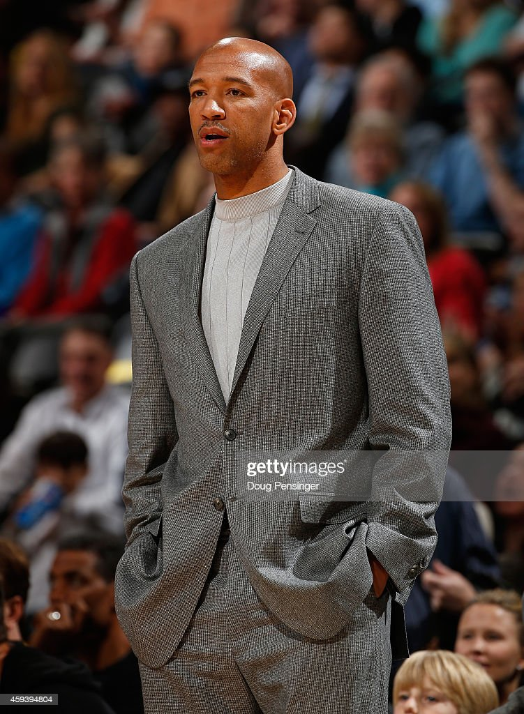Head coach Monty Williams of the New Orleans Pelicans leads his team against the Denver Nuggets at Pepsi Center on November 21 2014 in Denver...