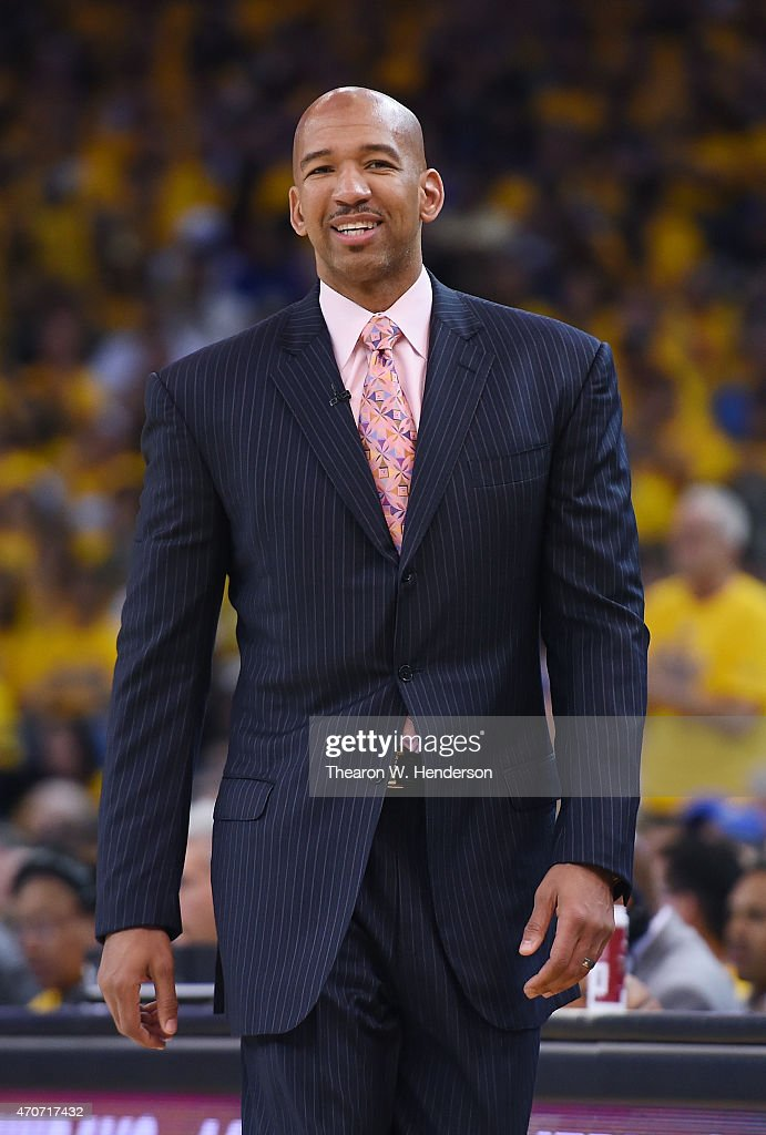 Head coach Monty Williams of the New Orleans Pelicans looks on during a break in the action against the Golden State Warriors in the second quarter...