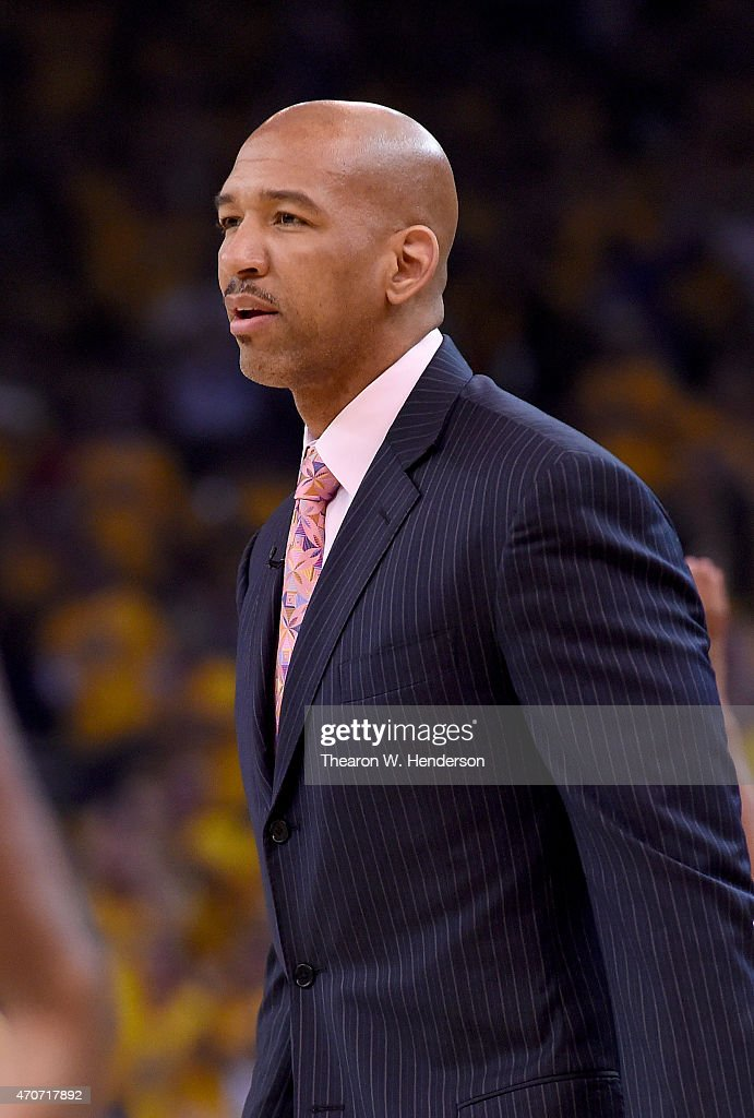 Head coach Monty Williams of the New Orleans Pelicans looks on during a break in the action against the Golden State Warriors in the first quarter...