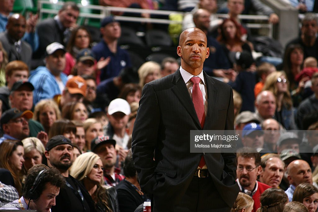 Head coach Monty Williams of the New Orleans Pelicans looks on in a game against the Utah Jazz at EnergySolutions Arena on November 22 2014 in Salt...