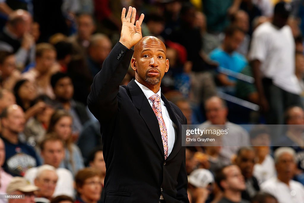 Head coach Monty Williams of the New Orleans Pelicans reacts during the game against the Indiana Pacers at the New Orleans Arena on October 30 2013...