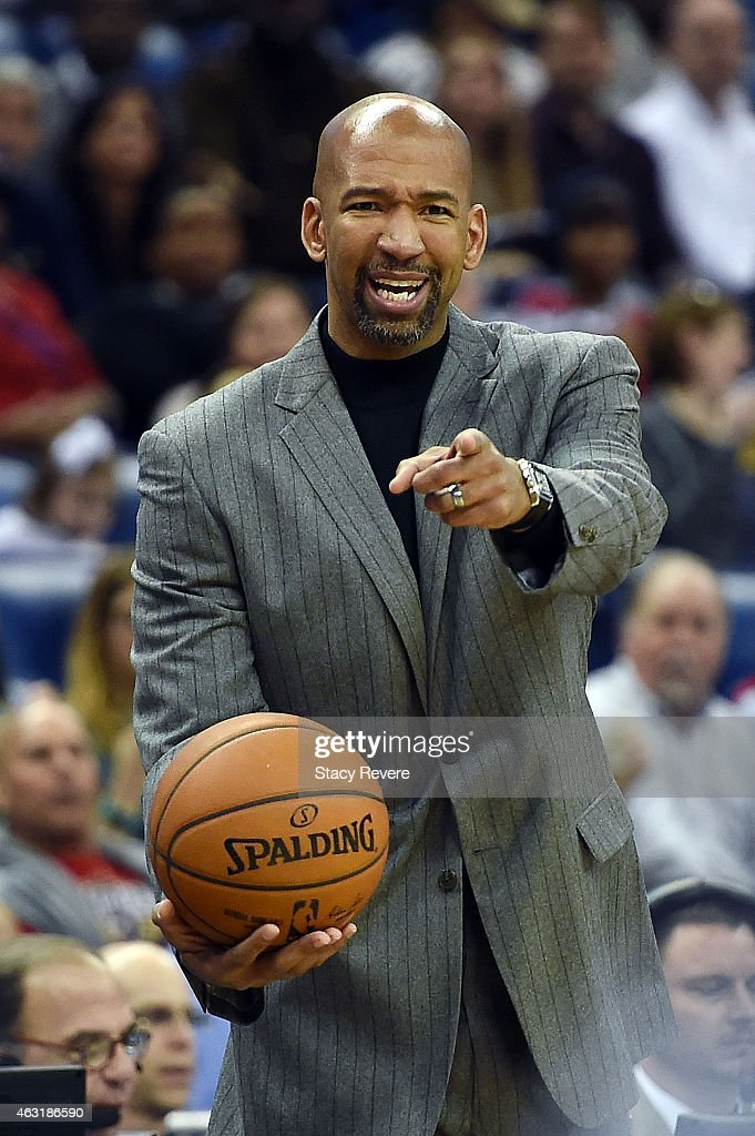 Head coach Monty Williams of the New Orleans Pelicans reacts to an officials call during the first half of a game against the Utah Jazz at the...