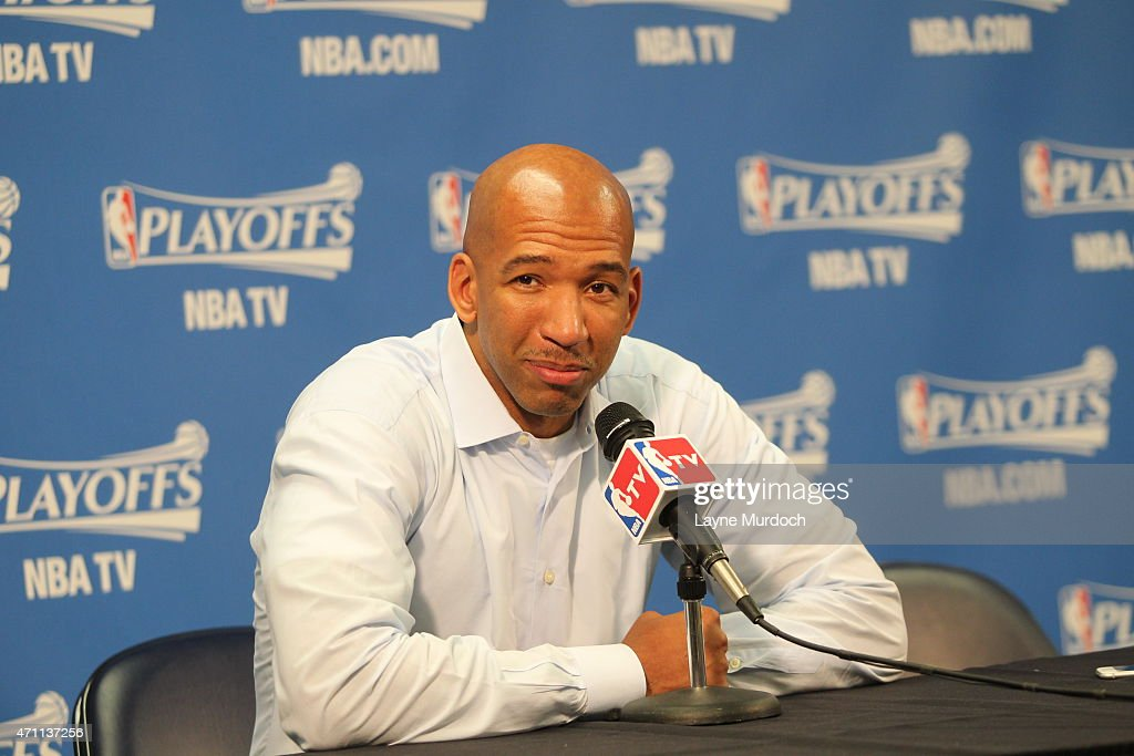Head Coach Monty Williams of the New Orleans Pelicans speaks to the media before Game Four of the Western Conference Quarterfinals against the Golden...