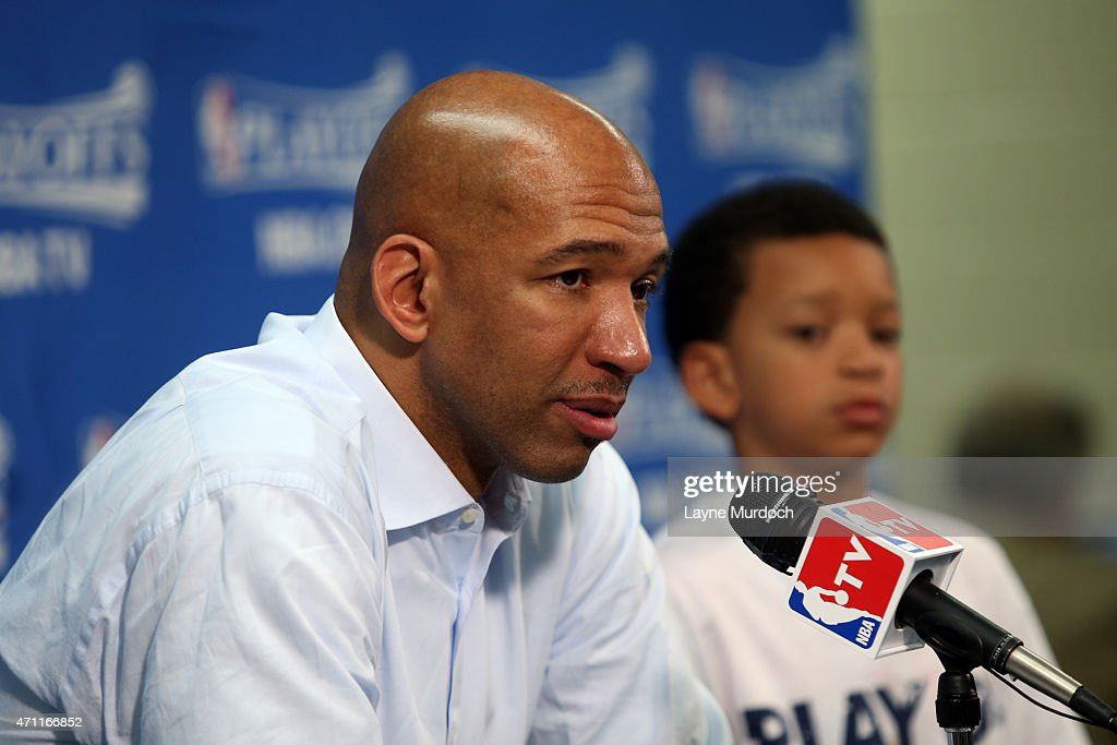 Head Coach Monty Williams of the New Orleans Pelicans talks to the media after Game Four of the Western Conference Quarterfinals against the Golden...