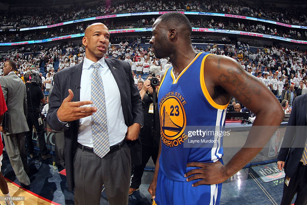 Head Coach Monty Williams of the New Orleans Pelicans talks with Draymond Green of the Golden State Warriors after Game Four of the Western...