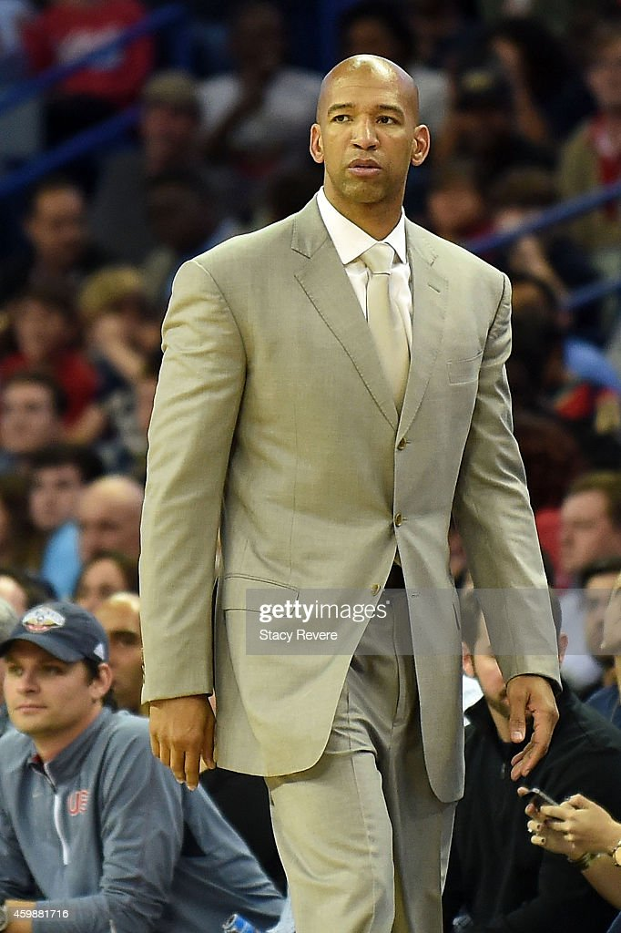 Head coach Monty Williams of the New Orleans Pelicans watches action during a game against the Oklahoma City Thunder at the Smoothie King Center on...