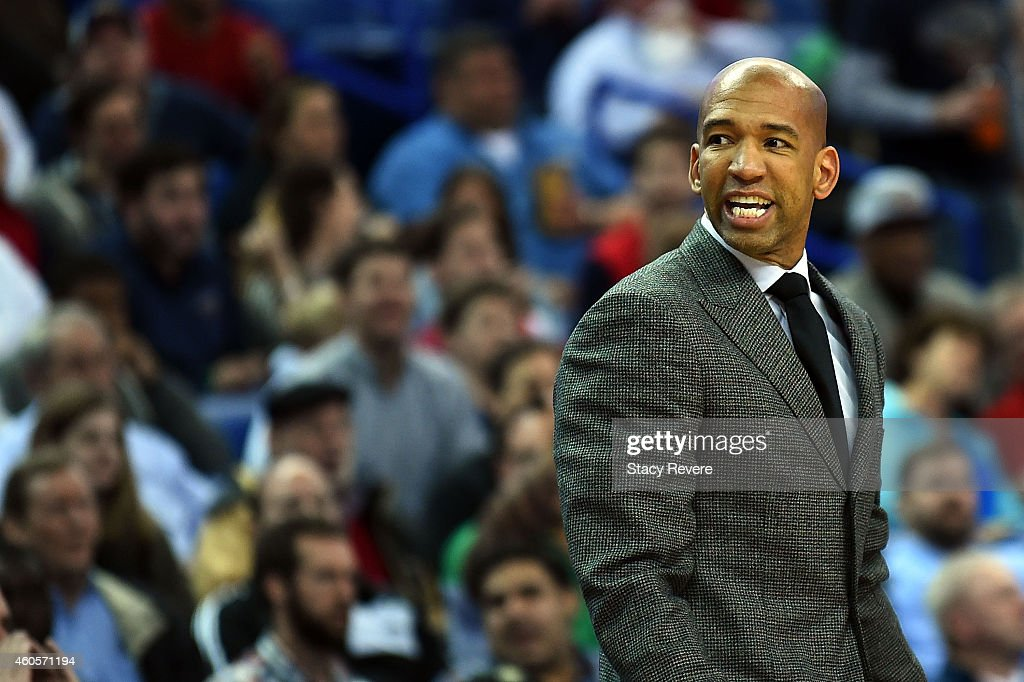 Head coach Monty Williams of the New Orleans Pelicans watches action from the sideline during the first half of a game against the Utah Jazz at the...