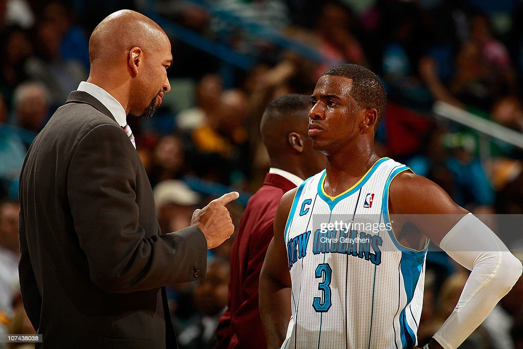 Head coach Monty Williams talks with Chris Paul #3 of the New Orleans Hornets during the game between the Detroit Pistons at the New Orleans Arena on December 8, 2010 in New Orleans, Louisiana.