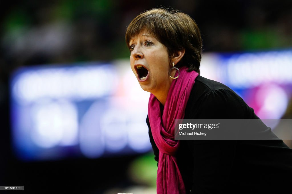 Head coach Muffet McGraw of the Notre Dame Fighting Irish is seen on the sidelines during the game against the Louisville Cardinals at Purcel Pavilion on February 11, 2013 in South Bend, Indiana. Notre Dame defeated Louisville 93-64.