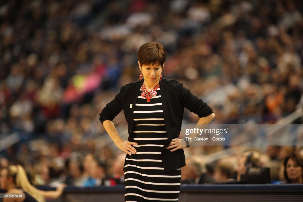 Head coach Muffet McGraw of the Notre Dame Fighting Irish on the sideline during the the UConn Huskies Vs Notre Dame, NCAA Women's Basketball game at the XL Center, Hartford, Connecticut. December 3, 2017