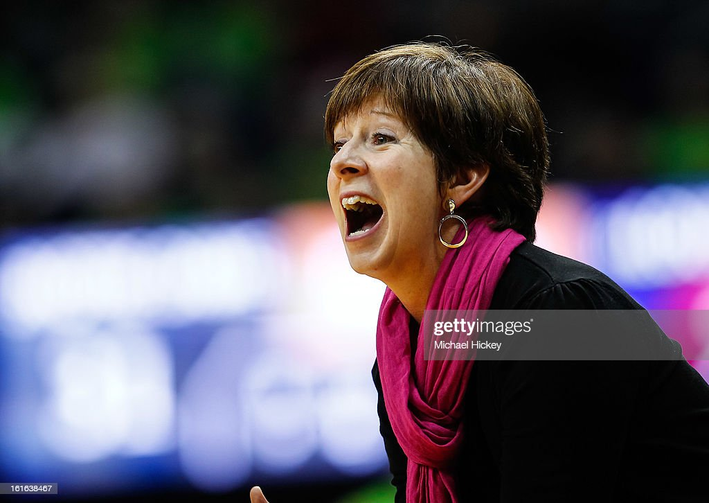 Head coach Muffet McGraw of the Notre Dame Fighting Irish seen during the game against the Louisville Cardinals at Purcel Pavilion on February 11, 2013 in South Bend, Indiana. Notre Dame defeated Louisville 93-64.