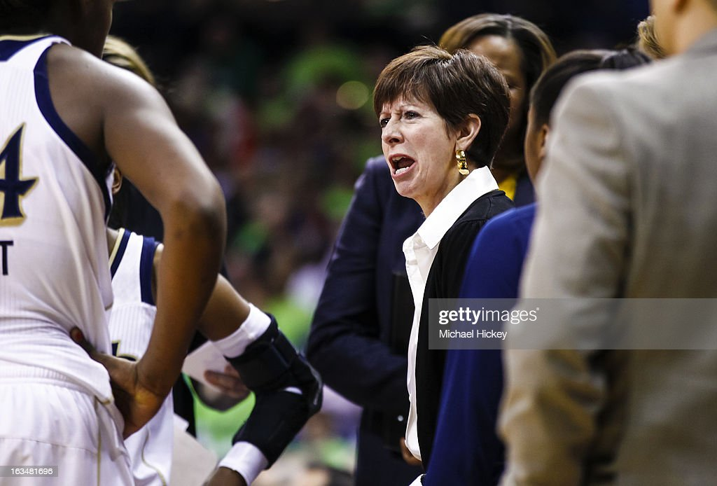 Head coach Muffet McGraw of the Notre Dame Fighting Irish seen during the game against the Connecticut Huskies at Purcel Pavilion on March 4, 2013 in South Bend, Indiana. Notre Dame defeated Connecticut 96-87 in triple overtime to win the Big East regular season title.