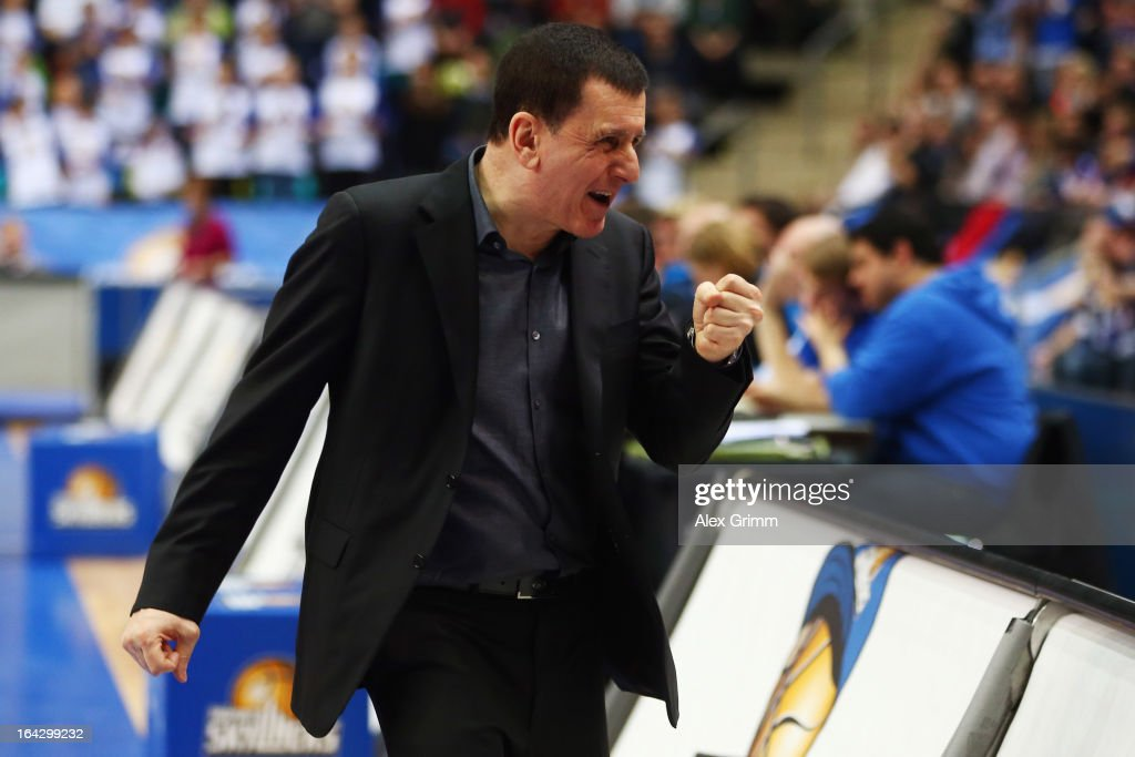 Head coach Muli Katzurin of Skyliners celebrates during the Beko BBL match between Fraport Skyliners and Eisbaeren Bremerhaven at Fraport Arena on...