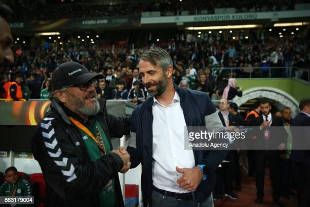 Head coach Mustafa Resit Akcay of Atiker Konyaspor shakes hands with head coach Marco Rose of Red Bull Salzburg ahead of the UEFA Europa League Group...