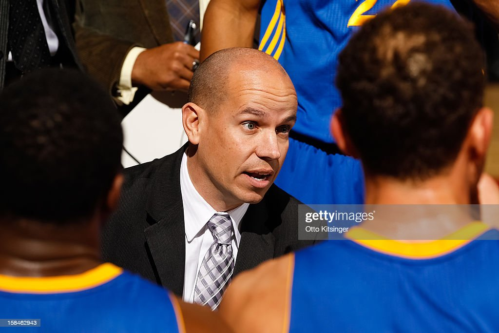 Head Coach Nate Bjorkgren of the Santa Cruz Warriors talks to his players during a time out against the Idaho Stampede on December 15, 2012 at CenturyLink Arena in Boise, Idaho.