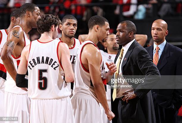 Head coach Nate McMillan of the Portland Trail Blazers stands with his team during the game against the Utah Jazz on February 21 2010 at the Rose...