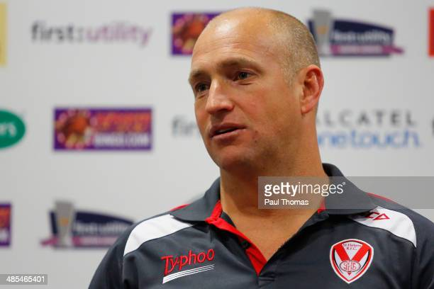 Head coach Nathan Brown of St Helens speaks during a press conference after the Super League match between St Helens and Wigan Warriors at Langtree...