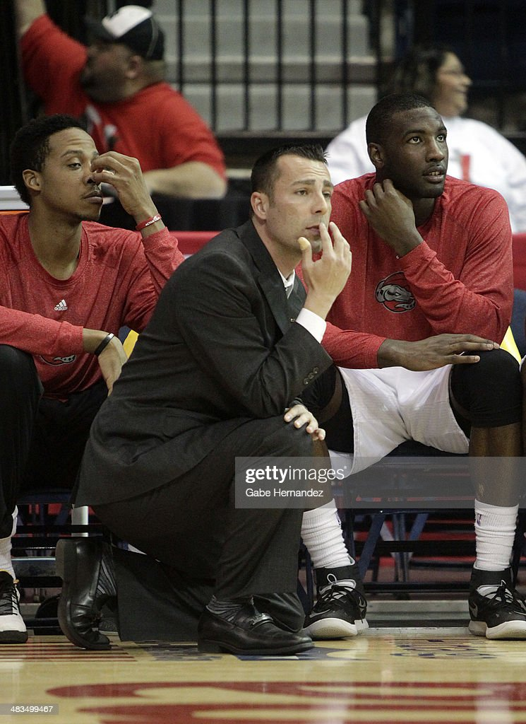 Head coach Nevada Smith of the Rio Grande Valley Vipers watches his players against the Iowa Energy on April 8, 2014 during game one first round of the 2014 NBA-Development League playoffs at the State Farm Arena in Hidalgo, Texas.