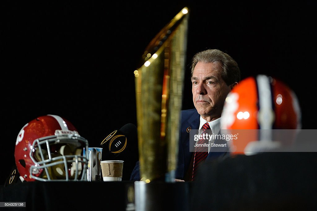 Head coach Nick Saban of the Alabama Crimson Tide addresses the media during the Head Coach Press Conference for the College Football Playoff...