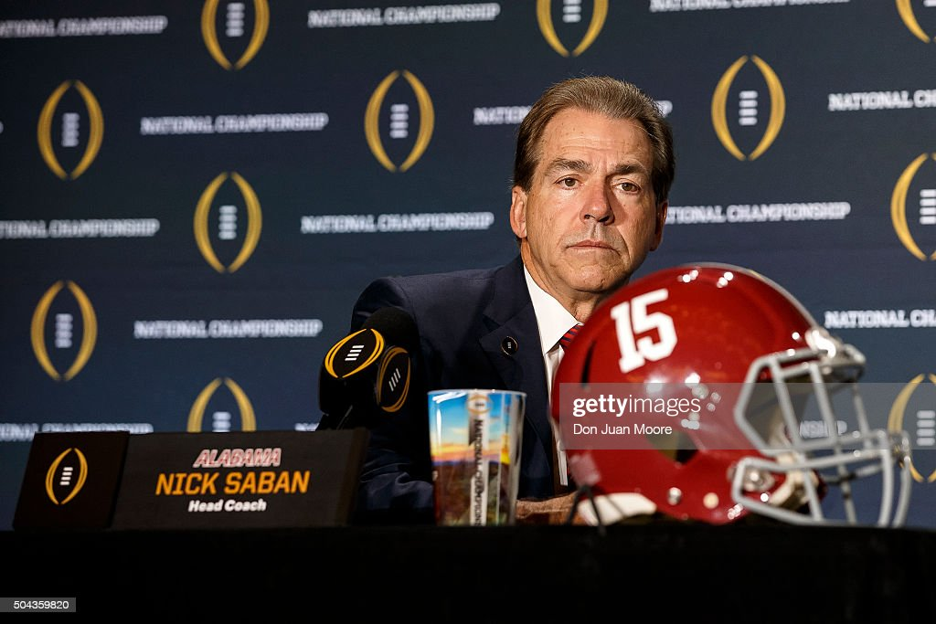 Head Coach Nick Saban of the Alabama Crimson Tide addresses the media during the Head Coaches Press Conference before the College Football Playoff...