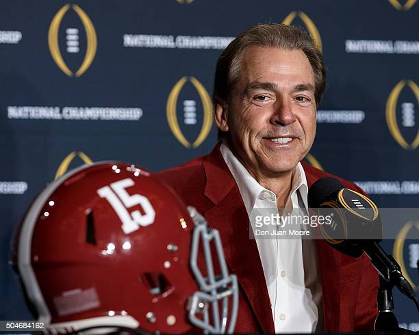 Head Coach Nick Saban of the Alabama Crimson Tide addresses the media during the MVP Press Conference after winning the College Football Playoff...