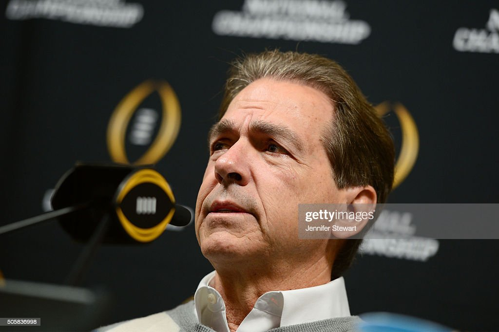 Head coach Nick Saban of the Alabama Crimson Tide addresses the media during Media Day for the College Football Playoff National Championship at...