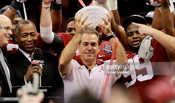 Head coach Nick Saban of the Alabama Crimson Tide celebrates with the trophy after defeating Louisiana State University Tigers in the 2012 Allstate...