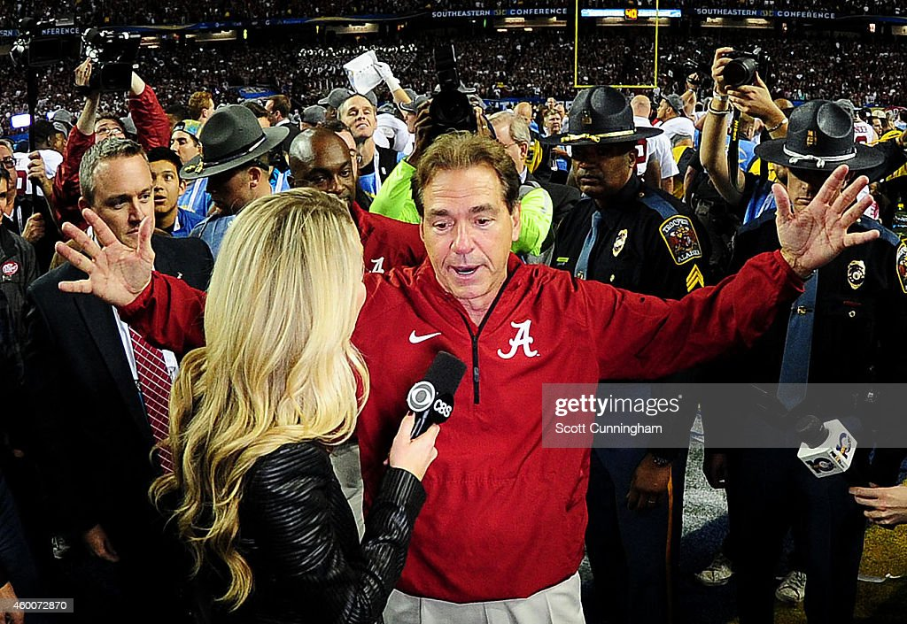 Head coach <a gi-track='captionPersonalityLinkClicked' href=/galleries/search?phrase=Nick+Saban&family=editorial&specificpeople=242860 ng-click='$event.stopPropagation()'>Nick Saban</a> of the Alabama Crimson Tide is interviewed after their 42 to 13 win over the Missouri Tigers in the SEC Championship game at the Georgia Dome on December 6, 2014 in Atlanta, Georgia.