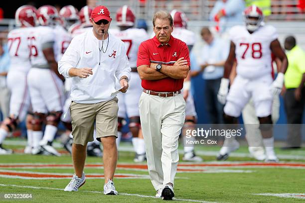 Head coach Nick Saban of the Alabama Crimson Tide looks on during pregame warmups prior to facing the Mississippi Rebels at VaughtHemingway Stadium...