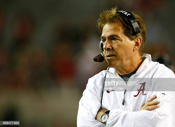 Head coach Nick Saban of the Alabama Crimson Tide looks on during the game against the Western Carolina Catamounts at BryantDenny Stadium on November...