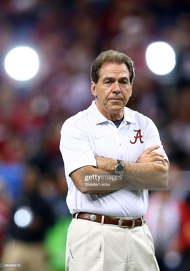 Head coach <a gi-track='captionPersonalityLinkClicked' href=/galleries/search?phrase=Nick+Saban&family=editorial&specificpeople=242860 ng-click='$event.stopPropagation()'>Nick Saban</a> of the Alabama Crimson Tide looks on the field prior to the All State Sugar Bowl against the Ohio State Buckeyes at the Mercedes-Benz Superdome on January 1, 2015 in New Orleans, Louisiana.