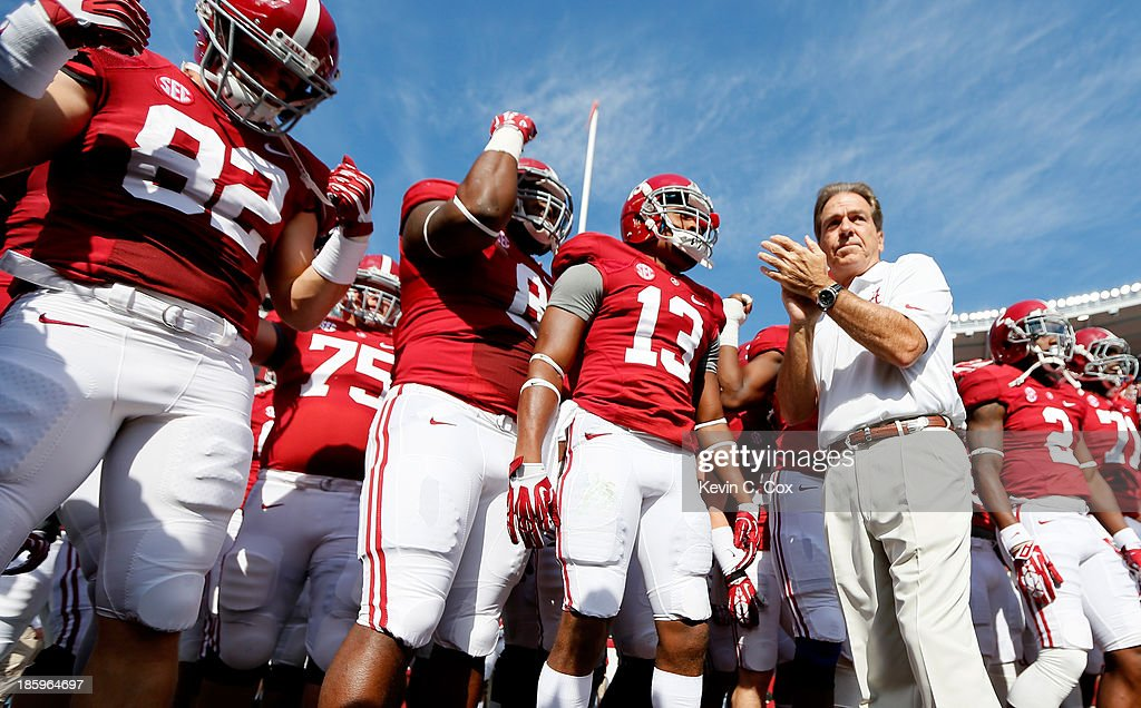 Head coach <a gi-track='captionPersonalityLinkClicked' href=/galleries/search?phrase=Nick+Saban&family=editorial&specificpeople=242860 ng-click='$event.stopPropagation()'>Nick Saban</a> of the Alabama Crimson Tide prepares to enter the field with his team prior to facing the Tennessee Volunteers at Bryant-Denny Stadium on October 26, 2013 in Tuscaloosa, Alabama.
