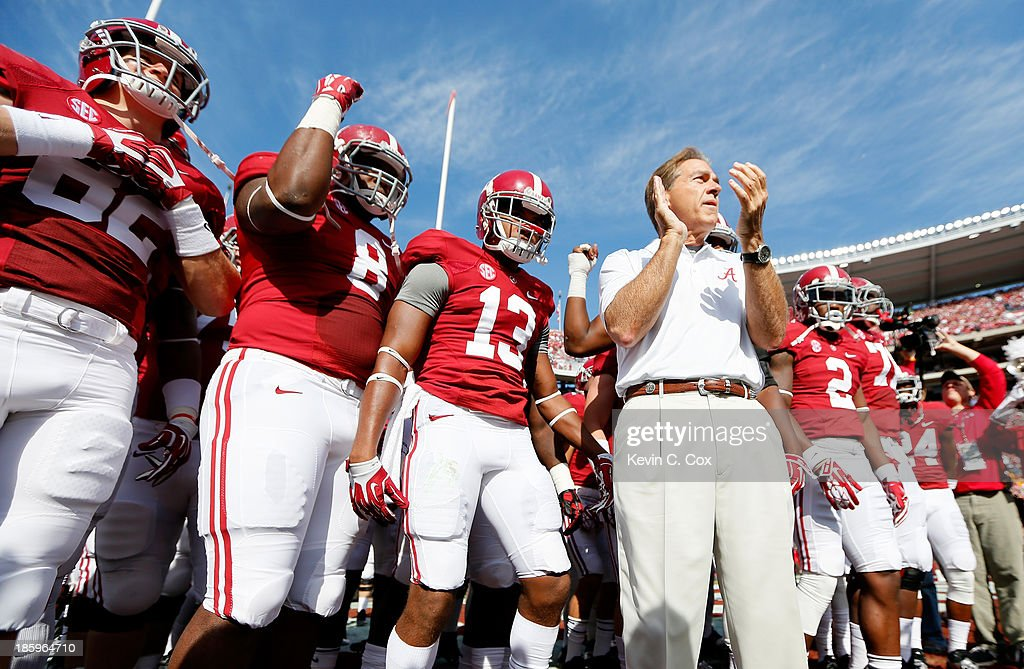 Head coach Nick Saban of the Alabama Crimson Tide prepares to enter the field with his team prior to facing the Tennessee Volunteers at Bryant-Denny Stadium on October 26, 2013 in Tuscaloosa, Alabama.
