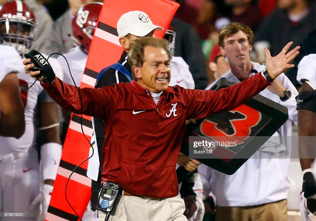 head coach Nick Saban of the Alabama Crimson Tide reacts to a play during the second half of an NCAA football game against the Mississippi State Bulldogs at Davis Wade Stadium on November 11, 2017 in Starkville, Mississippi.