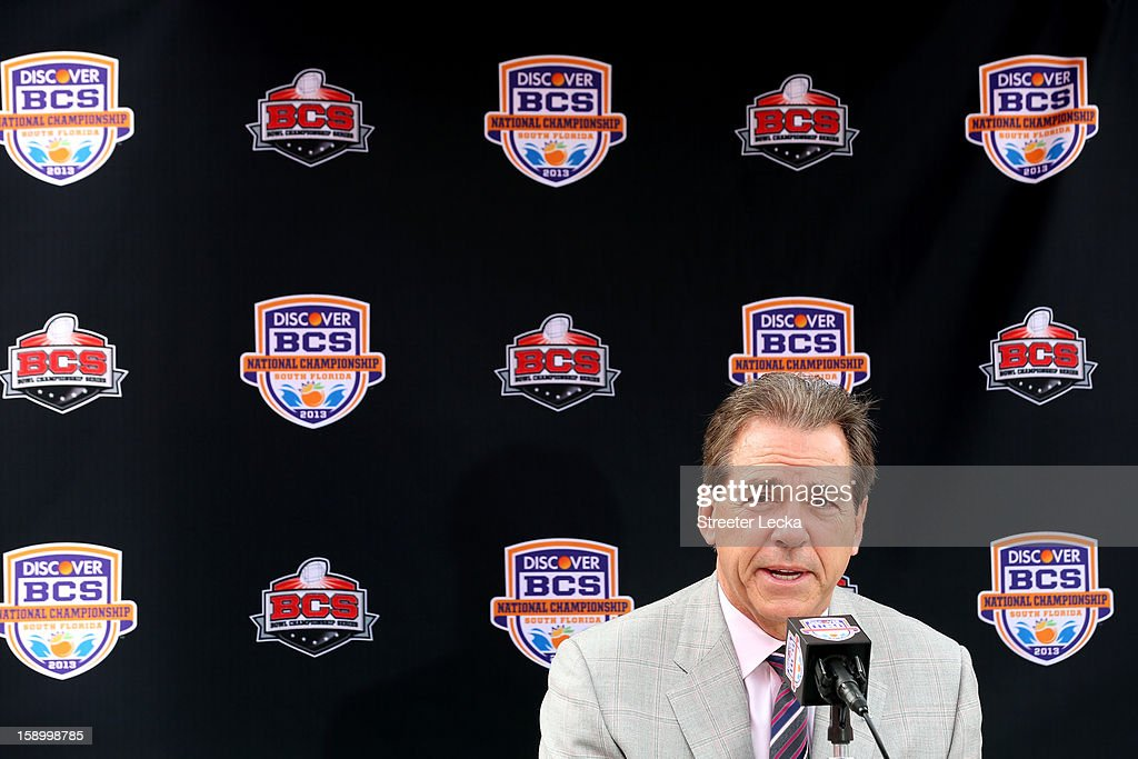 Head coach Nick Saban of the Alabama Crimson Tide speaks to the media during Media Day ahead of the Discover BCS National Championship at Sun Life Stadium on January 5, 2013 in Miami Gardens, Florida.