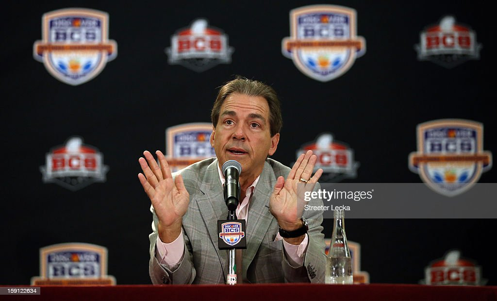 Head coach <a gi-track='captionPersonalityLinkClicked' href=/galleries/search?phrase=Nick+Saban&family=editorial&specificpeople=242860 ng-click='$event.stopPropagation()'>Nick Saban</a> of the Alabama Crimson Tide speaks to the media during the Discover BCS National Championship Press Conference at the Harbor Beach Marriott on January 8, 2013 in Fort Lauderdale, Florida.