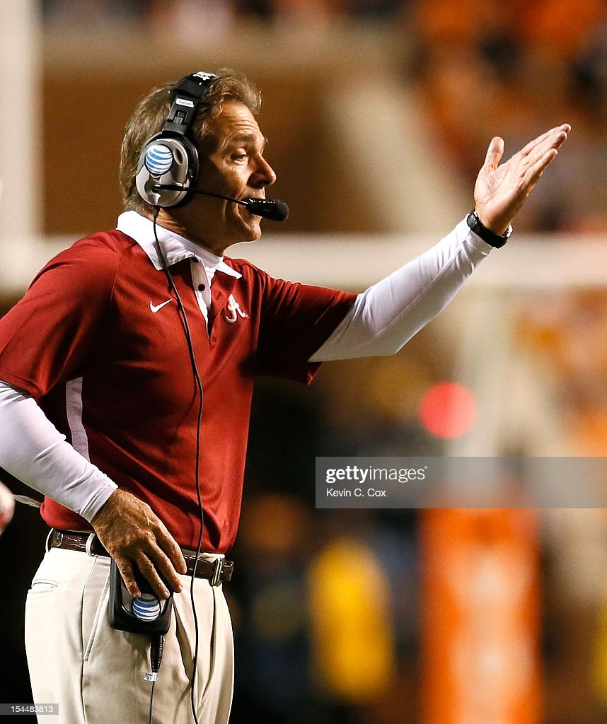 Head coach <a gi-track='captionPersonalityLinkClicked' href=/galleries/search?phrase=Nick+Saban&family=editorial&specificpeople=242860 ng-click='$event.stopPropagation()'>Nick Saban</a> of the Alabama Crimson Tide yells to his team against the Tennessee Volunteers at Neyland Stadium on October 20, 2012 in Knoxville, Tennessee.