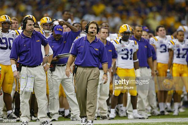 Head coach Nick Saban of the Louisiana State University Tigers walks the sidelines during the National Championship Nokia Sugar Bowl against the...